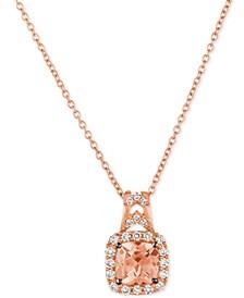 Chocolatier® Peach Morganite™ (5/8 ct. t.w.) & Diamond (1/4 ct. t.w.) Pendant Necklace in 14k Rose Gold