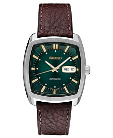 Seiko Men's Automatic Recraft Brown Leather Strap Watch 40mm