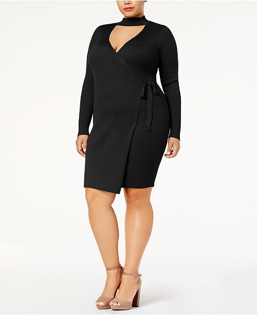 Say What? Trendy Plus Size Faux-Wrap Sweater Dress ...
