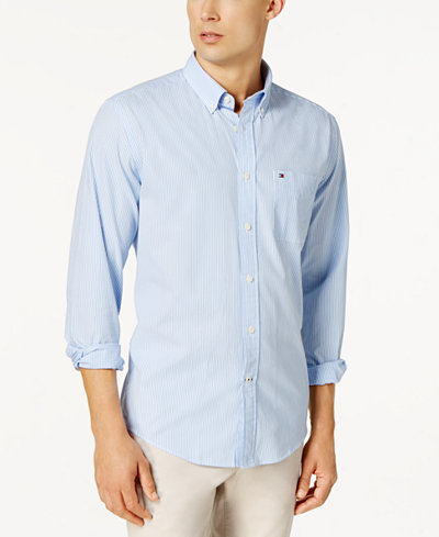 Tommy Hilfiger Men's Fitzgerald Striped Shirt - Casual Button-Down ...