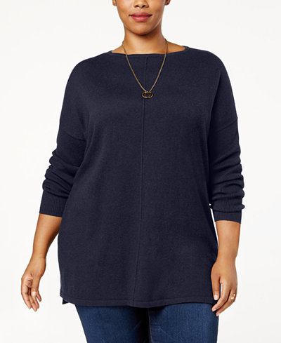 Style & Co Plus Size Seamed Boat-Neck Sweater, Created for Macy's