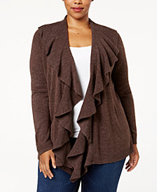 Karen Scott Plus Size Luxsoft Ruffled Cardigan, Created for Macy's