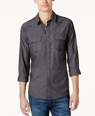American Rag Men's Long Sleeve Chambray Button Down Shirt, Created ...
