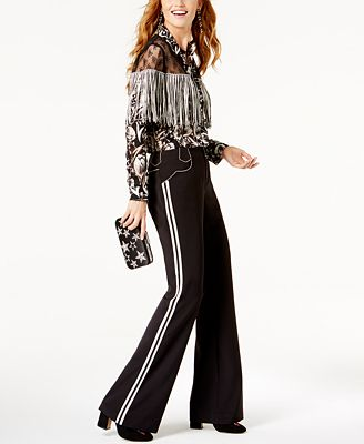 GET THE LOOK: Anna Sui INC International Concepts Drop Earrings + Fringe-Trim Top + Beaded Clutch + Satin Pants + Mules, Created for Macy's