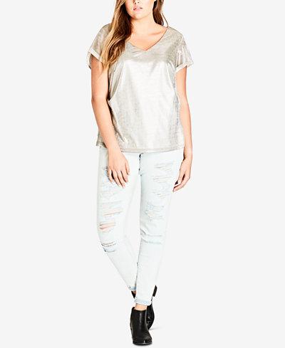 City Chic Trendy Plus Size Super Metallic Top