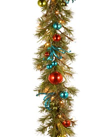 9' Decorative Collection Retro Garland With 50 Battery-Operated LED Lights & Timer