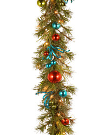 National Tree Company 9' Decorative Collection Retro Garland With 50 Battery-Operated LED Lights & Timer