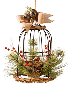 "National Tree Company 13"" Decorative Bird Cage With Bells & Berries"