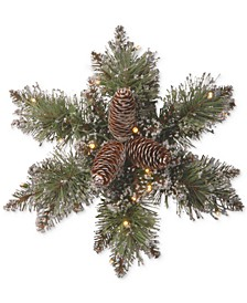 "14"" Glittery Bristle Pine Snowflake Wreath With Pine Cones & 15 Battery-Operated LED Lights With Timer"