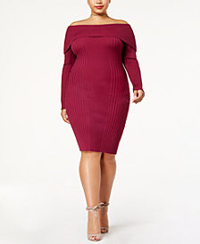 Say What? Trendy Plus Size Off-The-Shoulder Bodycon Dress
