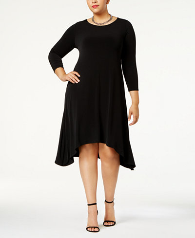 Alfani Plus Size Fit & Flare Knit Dress, Created for Macy's