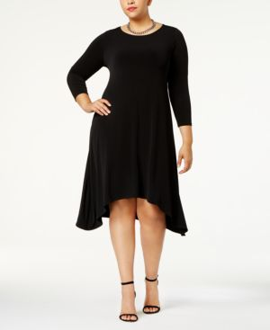 Image of Alfani Plus Size Fit & Flare Knit Dress, Created for Macy's