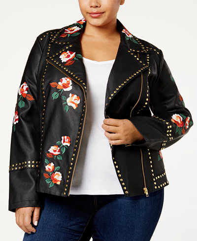 Anna Sui Loves INC International Concepts Plus Size Embroidered Faux-Leather Jacket, Created for Macy's
