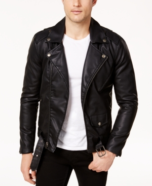 Men's Vintage Style Coats and Jackets Ring of Fire Mens Retro Faux Leather Jacket Created for Macys $49.99 AT vintagedancer.com