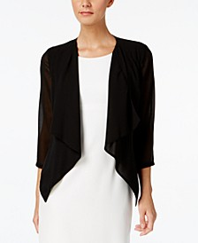 Illusion-Sleeve Draped Cardigan