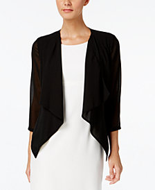 Calvin Klein Illusion-Sleeve Draped Cardigan