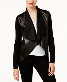 MICHAEL Michael Kors Mixed-Media Draped-Front Cardigan in Regular & Petite Sizes