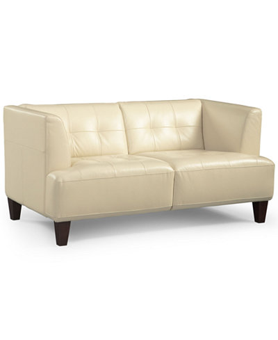 Alessia Leather Loveseat Furniture Macy S