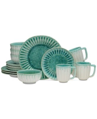 Monterey Green 16-Piece Dinnerware Set, Service for 4