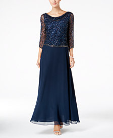 J Kara Beaded Cowl-Neck Gown