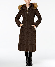 Jones New York Faux-Fur-Trim Down Maxi Coat