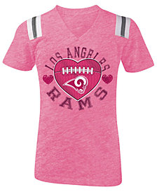 5th & Ocean Los Angeles Rams Pink Heart Football T-Shirt, Girls (4-16)