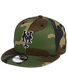 New Era New York Mets Woodland Black/White 9FIFTY Snapback Cap