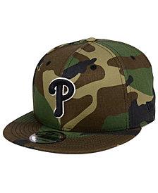 New Era Philadelphia Phillies Woodland Black/White 9FIFTY Snapback Cap