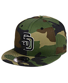 New Era San Diego Padres Woodland Black/White 9FIFTY Snapback Cap