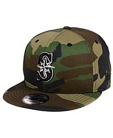 Seattle Mariners Woodland Black/White 9FIFTY Snapback Cap