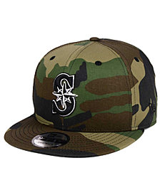 New Era Seattle Mariners Woodland Black/White 9FIFTY Snapback Cap