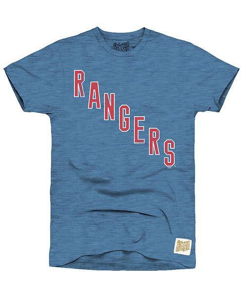 Retro Brand Men's New York Rangers Blue Line Logo T-Shirt