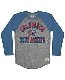 Retro Brand Men's Columbus Blue Jackets Reggie Raglan Long Sleeve T-Shirt