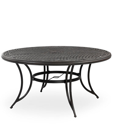 Cast aluminum 60 round outdoor dining table furniture for Macys dining table