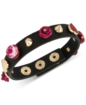 Betsey Johnson  GOLD-TONE PINK STONE HEART & FLOWER BLACK LEATHER SNAP BRACELET