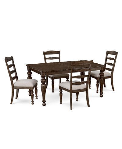 CLOSEOUT! Hamilton Expandable Dining Furniture, 5-Pc. Set (Dining Table & 4 Side Chairs), Created for Macy's