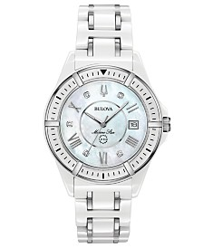 Bulova Women's Marine Star Diamond-Accent White & Silver-Tone Ceramic Bracelet Watch 37mm