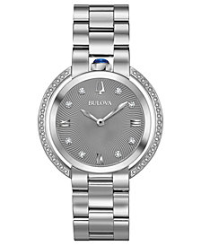 Bulova Women's Rubaiyat Diamond (1/4 ct. t.w.) Stainless Steel Bracelet Watch 35mm