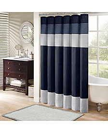 Madison Park Amherst Colorblocked 72 Square Faux Silk Shower Curtain