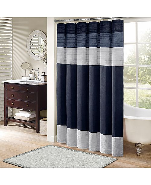 Madison Park Amherst Colorblocked 72 Square Faux Silk Shower
