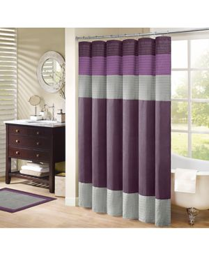 "Madison Park Amherst Colorblocked 72"" Square Faux-Silk Shower Curtain Bedding thumbnail"
