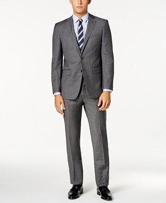 Calvin Klein Men S Extra Slim Fit Gray Sharkskin Suit