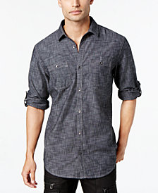I.N.C. Men's Chambray Dual-Pocket Shirt, Created for Macy's