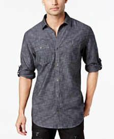 I.N.C. Men's Chambray Dual-Pocket Shirt, Created for Macy's