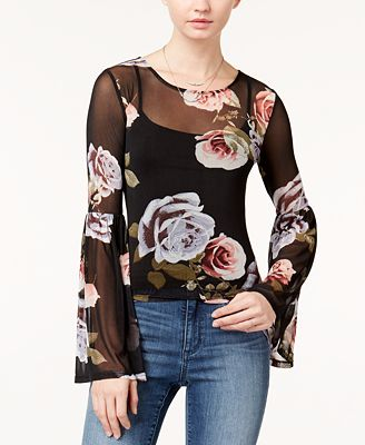 Polly & Esther Juniors' Printed Bell-Sleeve Top