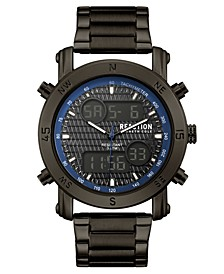 Men's Analog-Digital Gunmetal Stainless Steel Bracelet Watch 45mm
