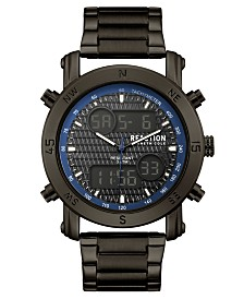 Kenneth Cole Reaction Men's Analog-Digital Gunmetal Stainless Steel Bracelet Watch 45mm