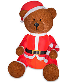 "National Tree Company Airblown® Mixed Texture 54"" Inflatable Teddy Bear In Santa Outfit"