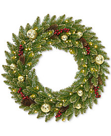 """National Tree Company 24"""" Glittery Gold Dunhill Fir Wreath with Berries, Pine Cones, Ornaments & 35 Battery-Operated LED Lights"""