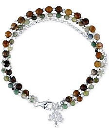 Unwritten Jasper (3-1/2-4mm)Triple Strand Bead Charm Bracelet in Silver-Plate
